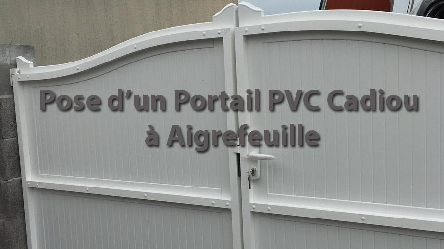 POSE PORTAIL PVC 2 VANTAUX AVEC FERMETURE A CLE